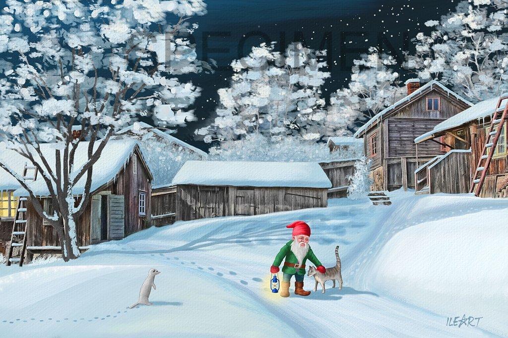 joulukortti Joulukortti Luostarinmäen käsityöläismuseon pihapiiri yöllä joulukortti