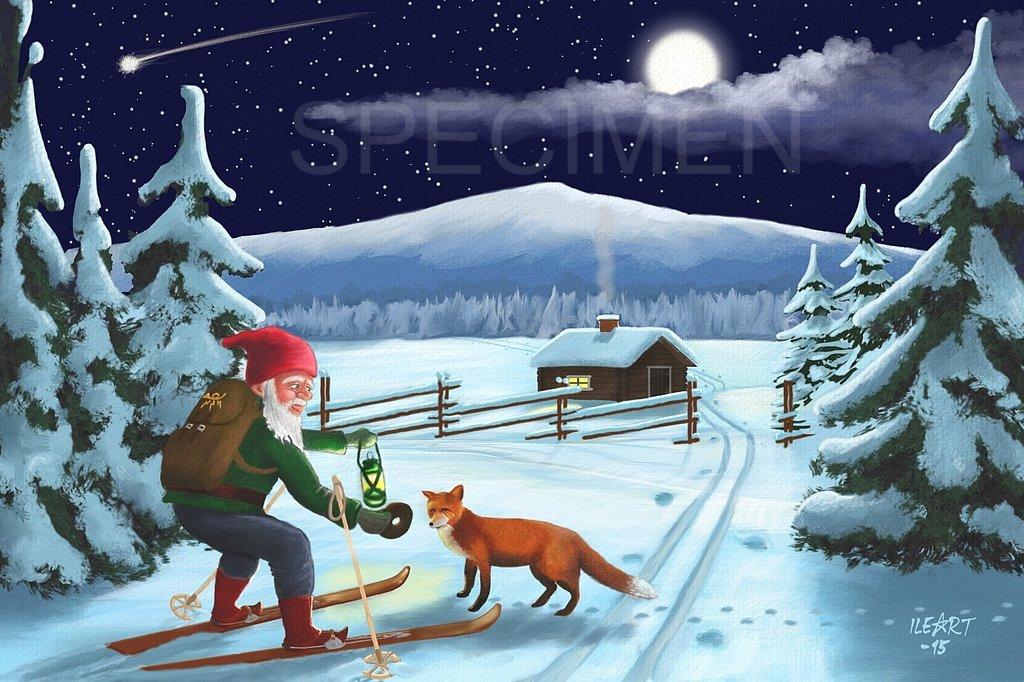 joulukortti Joulukortti Tonttu ja kettu joulukortti