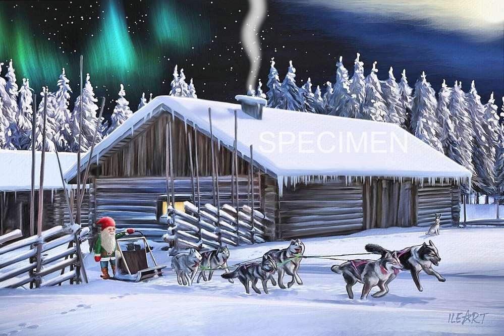 joulukortti Joulukortti Tonttu ja koiravaljakko joulukortti